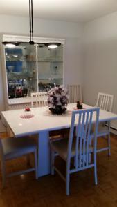 Ensemble salle à diner mélamine blanc / Dining room set, white