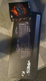 ARES K3 Backlit Gaming Keyboard + Gaming Mouse both RGB BNIB