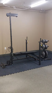 *BARELY USED* FITNESS KIT - BENCH, CABLE TOWER, WEIGHTS