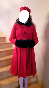 Size 16 red winter coat with fake fur muffler and collar + beret