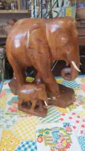 Vintage Pair of Wooden Elephants