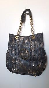 Christian Audigier bag - black and dark gold