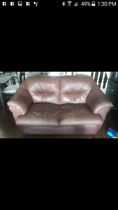2 leather brown loveseats