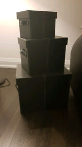 Must Have 3pc Black Decorative Stackable Leather Storage Boxes