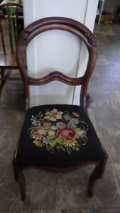 Victorian Mahogany Balloon Back Chair with needlepoint seat