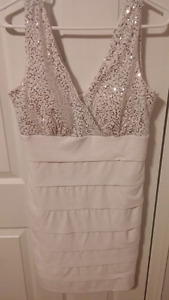 White Jessica dress with silver sequins