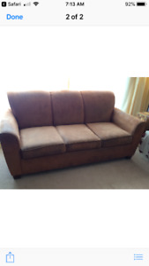 Micro fibre couch with pull out double bed