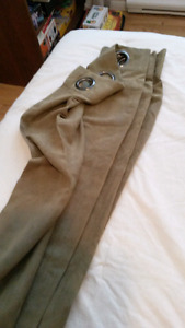 """2 curtain panels 84"""" in length, green brown ish"""