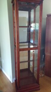 Curio Cabinet, windows all sides, mirrors on back, light at top