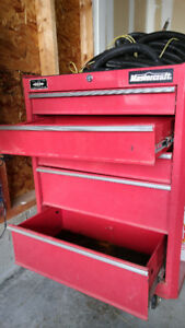 Mastercraft Red, 5 drawer, wheeled tool storage chest