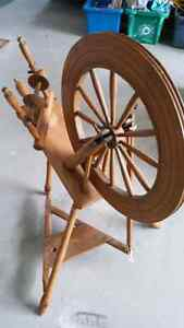 Antique spinning wheel and Antique table & chairs