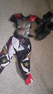 Youth Dirt bike boots, pants, chest protector