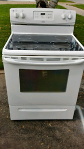 White Kenmore self cleaning ceramic top stove