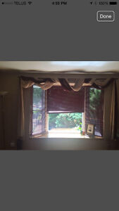 Sheer Burgundy and Beige Curtains and Curtain Rod
