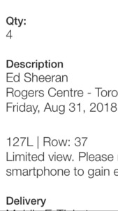 4 tickets for ed sheeran in Toronto aug 31, 2018