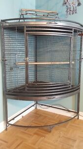 Big Beautiful Corner Bird Cage, Perches, and Toy
