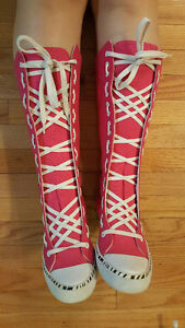 Hot Pink Converse-Style Shoes with Custom Lacing