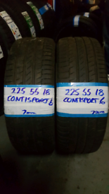 225 55 18 CONTISPORT 6 TYRES 7mmx2 £90 INC FIT N BAL OPN 7 DYS