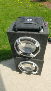 """Dual 12"""" Subs with 340 watt amp and deck"""
