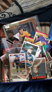 old tin box of sports cards