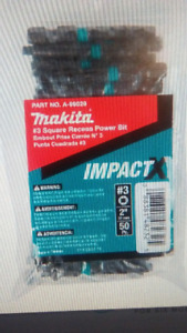 "Makita A-99029 Impactx #3 Square Recess 2"" Power Bit, 50-Pack, B"