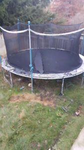 Free trampoline above ground pool, basketball pole and deck