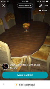 Mahogany oak table with chairs