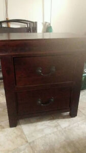 Hardwood bed table