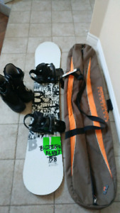 Burton SnowBoard, Boots (size 8) and Bag