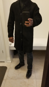 Men's Black Full Length Real Shearling Coat