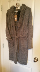 **brand new** fur trimmed hooded knit sweater