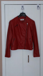 Red PU leather jacket