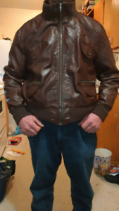 mens leather looking jacket size medium. never worn outside