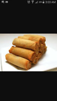 Homemade spring roll ( lumpia )and  special  Maja Blanca