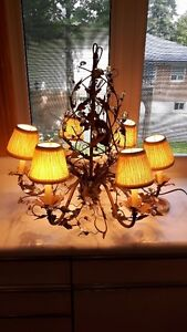 Decorative 6-light Metal and Glass Chandelier - $40