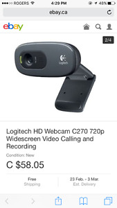 Logitech HD 720p webcam - used once! Perfect condition.
