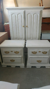 Antique off white armoire and end table distressed