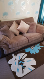 TWO TWO SEATER SOFAS AND FOOTSTOOL