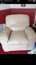 Cream Leather Effect Reclining Chair