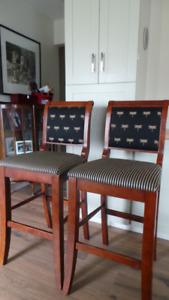 2 Wood-Upholstered, Bar Stools