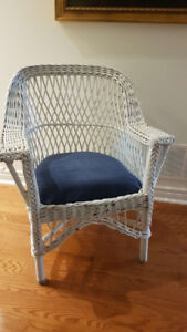 White Wicker Arm Chair - NEW Price!