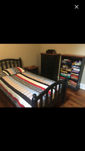 Solid wood. Twin bed, mattress bedroom set. Made in Canada