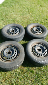 R15 5x114.3 steelies and rubber