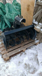 Snowblower attachment for a ride on lawnmower