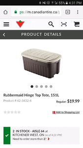 Plastic storage Bins -151l-  Canadian tire
