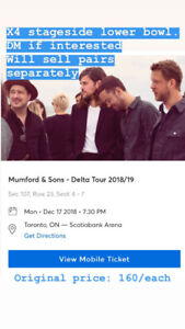 FACE VALUE MUMFORD AND SONS tickets section 107  TORONTO