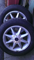 4 Michelin X-Ice Winter Snow tires 205 60 15 on Ford Alloy rims.