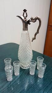 Vintage Diamond-cut crystal decanter set