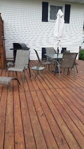Gas BBQ , 9 Piece Patio table and chairs set and ride on Lawn mo