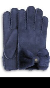 Brand New UGG Classic Bow Shorty Gloves Peacoat S/M